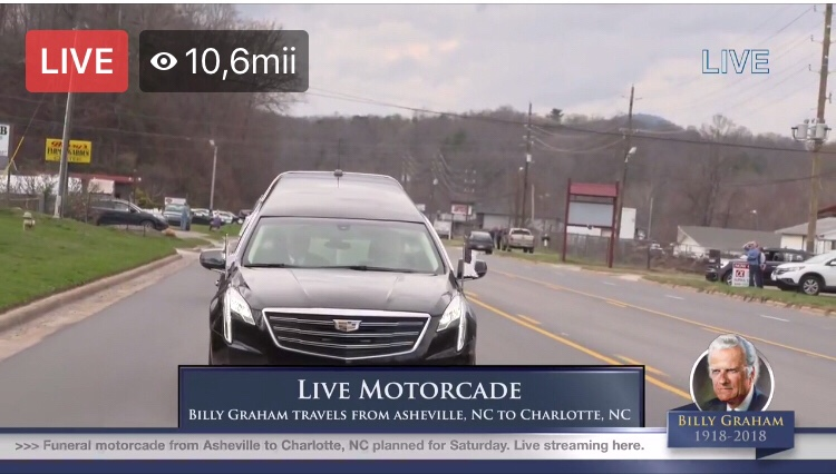 Live VIDEO: Billy Graham pleacă din Asheville in Carolina de nord