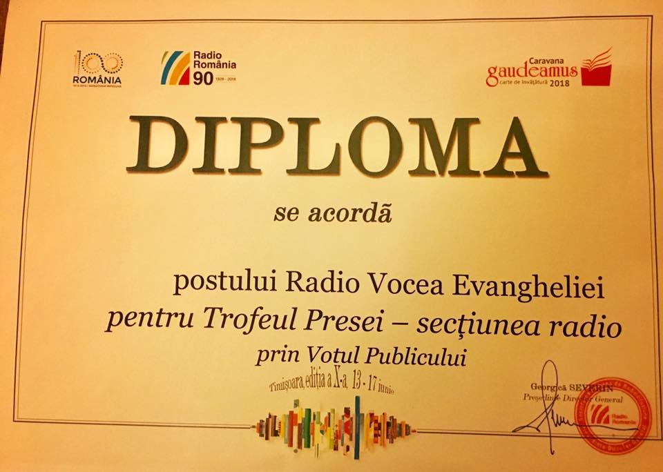 Târgului de carte Gaudeamus ne asculta. Diploma pentru RVE Timisoara
