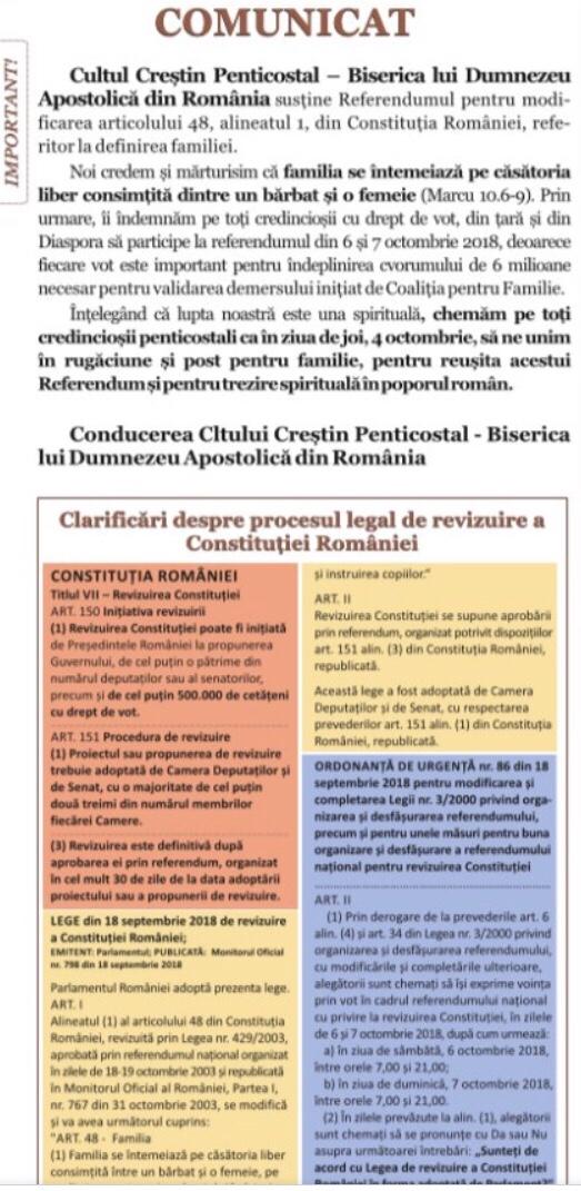 Comunicat despre referendum – Cultul Creștin Penticostal din România