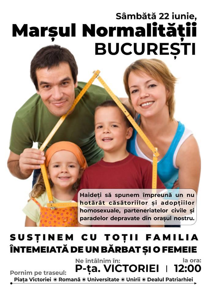 Marșul Normalității, protestul românilor care susțin valorile Familiei, are loc sâmbătă 22 iunie, în Piața Victoriei