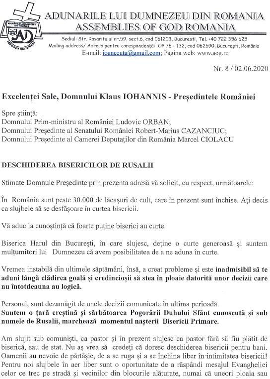 Adunările lui Dumnezeu din România: Apel către autorităţi pentru deschiderea bisericilor de Rusalii