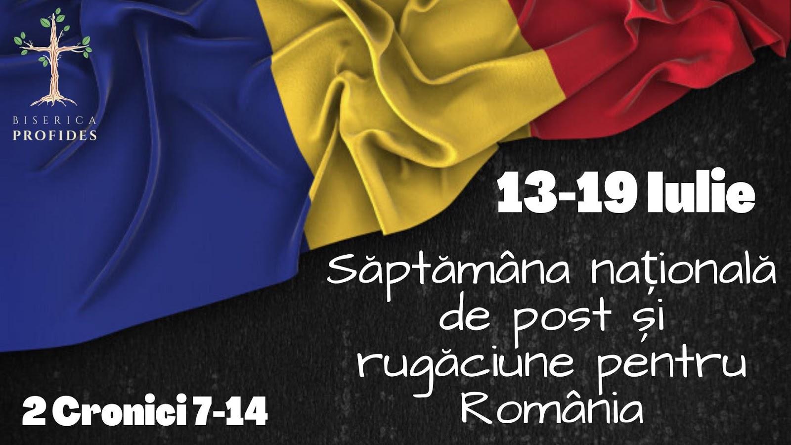 Declarăm săptămână de post și rugăciune pentru România