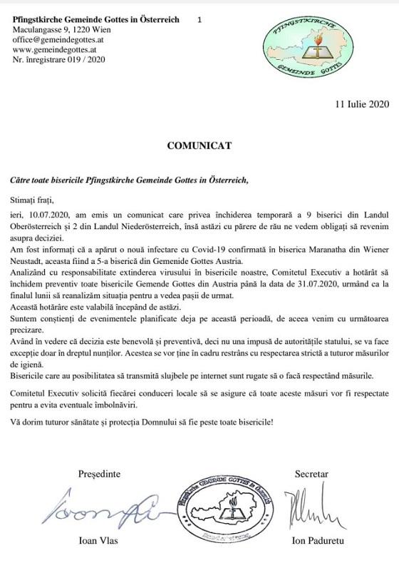 COMUNICAT: Ca urmare a extinderii coronavirusului în mai multe biserici, se închid momentan TOATE bisericile românești din Gemeinde Gottes Austria