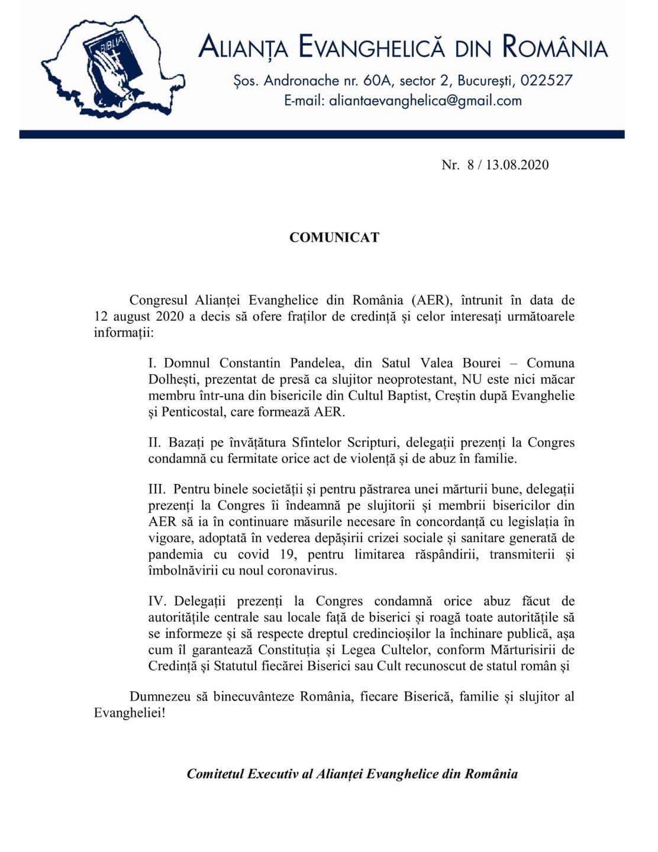 Ultima ora! Comunicat: Alianța Evanghelica din Romania